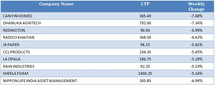 Small Cap Losers as on 31st July
